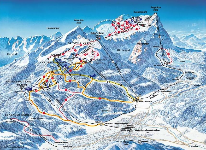 Ski resorts in germany map for Designhotel garmisch